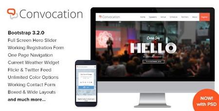 دانلود قالب HTML کنفرانس و رویدادها Convocation