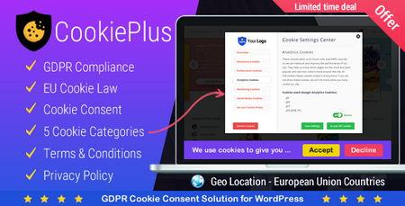 افزونه موافقت فعال سازی کوکی ها توسط کاربر در وردپرس Cookie Plus