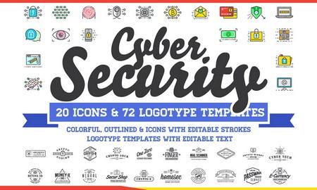 آیکون و لوگوی امنیت سایبری با فرمت PNG , EPS , AI , PSD