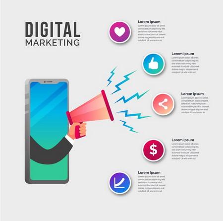 دانلود طرح لایه باز اینفوگرافیک دیجیتال مارکتینگ