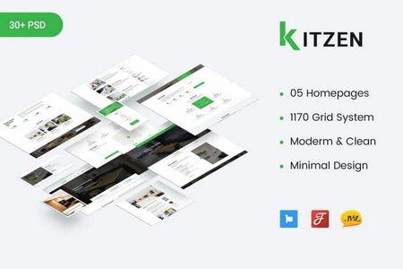 دانلود قالب لایه باز PSD سایت شرکتی Kitzen