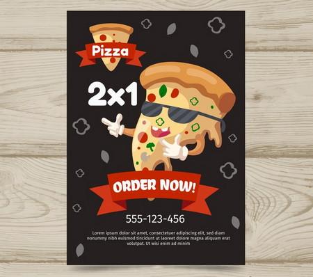 دانلود طرح تراکت لایه باز کارتونی با موضوع پیتزا