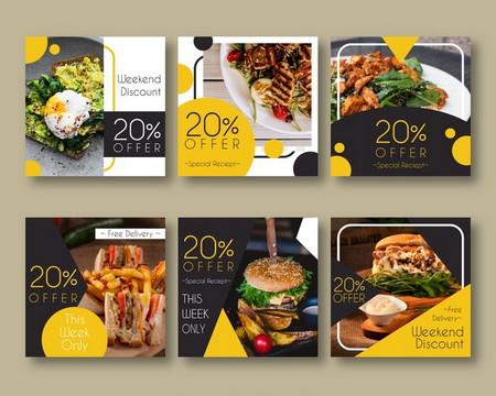 دانلود مجموعه طرح لایه باز بنر های تبلیغاتی مواد غذایی