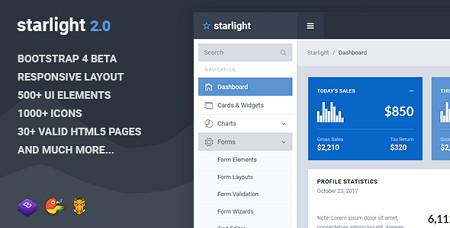 قالب مدیریت سایت Starlight به صورت HTML