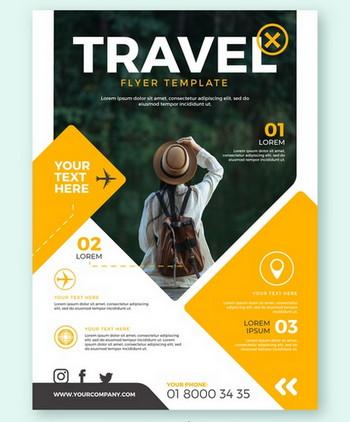 طرح لایه باز تراکت تبلیغاتی تور گردشگری و مسافرتی