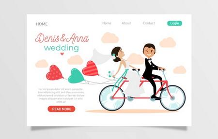 طرح لایه باز قالب لندینگ پیج عروسی با طراحی مسطح